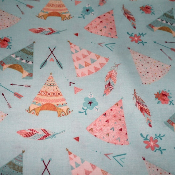 Friends forever tipis cowboys and indians cotton fabric for Children s cotton dress fabric