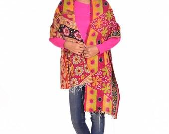 Vintage Cotton kantha Scarf Reversible Boho Hijab Stole Girls Bandana