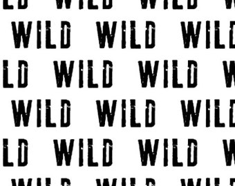 Wild Black on White Fabric by littlearrowdesigncompany