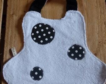 Bib baby sponge cloth and white black white polka dot