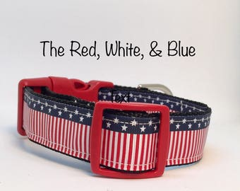 The Red, White, & Blue Dog Collar - American Flag Dog Collar - Patriotic Dog Collar - July 4th Dog Collar - Christmas gifts