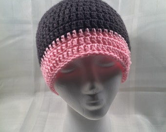 Womens pink and grey beanie