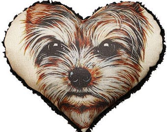 Yorkie Heart Pillow Cushion Grey Beige Fashion Home Decor Throw Pillowcase Couture Cushion Covers Active