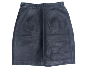 Vintage Collection genuine leather women skirt black