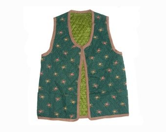 Vintage women vest green floral flowers