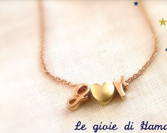 Necklace with initials and hearts