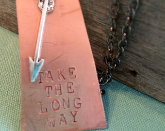 Hand-stamped Copper Saskatchewan Take the Long Way Necklace