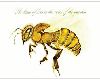 Honey Bee Card, Bees, Quotes, Apis Mellifera, Bee keeping, Blank Card, Original Art, Mixed Media,