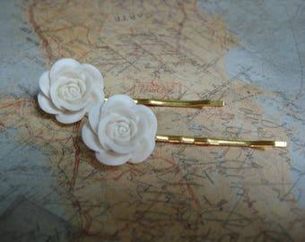 Girls Hair Pin Set, Hairpins, Novelty Hairpins, Girls Gifts, Party Favors, Hair Accessories, Flowers, Cabachons, Off White /ghp115