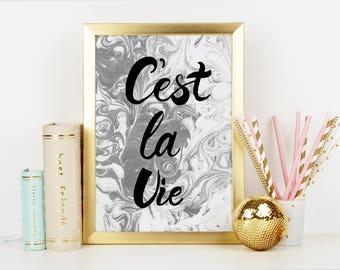 C'est La Vie Print, Marble Print, Quote Print, C'est La Vie, Marble Art, Marble Decor, Monochrome Print, Marbling