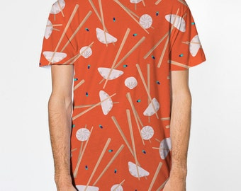 All Over Print Dumplings & Pills Shirt, Sublimation Printed shirt, pattern printed front and back