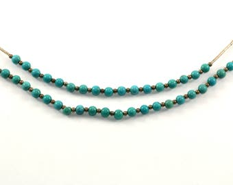 Vintage Navajo Two Rows Turquoise Beads Chain Necklace 925 Sterling Silver NC 276