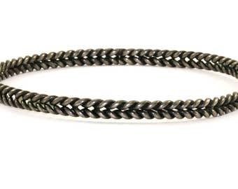 Vintage Braiding Design Bangle Bracelet 925 Sterling Silver BR 1100-E