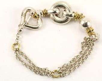 Vintage Two Tone Chain Toggle Bracelet 925 Sterling BR 2076-E