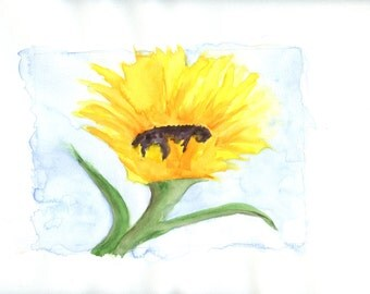 Sunflower a digital download of an original watercolor painting on paper