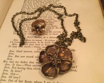 Unique vintage brass pansy necklace and matching ring