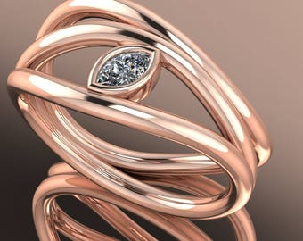 14K Rose Gold Wavy Ring With White Marqueze Shape Diamond N-RG1001