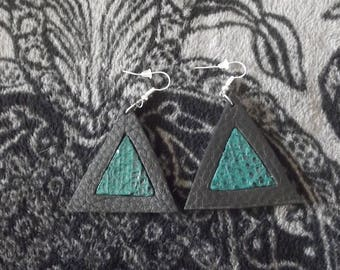 Earring triangle leather exotic snake chic fashion