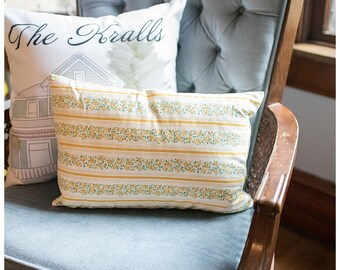 Vintage Yellow Floral Pillow | Handmade Vintage Pillow