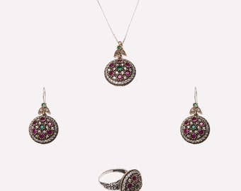 Ferimah Sultan Victorian Jewelry Sets, Round Art Deco Jewelry Sets,Purple,Green, Ottoman style sterling silver jewelry sets for women ZB2023