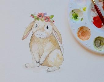Spring Woodland Bunny Rabbit Watercolor Print