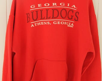 80's Vintage GEORGIA BULLDOGS Hoodie Uga Athens Georgia Dawgs Sec Size XL