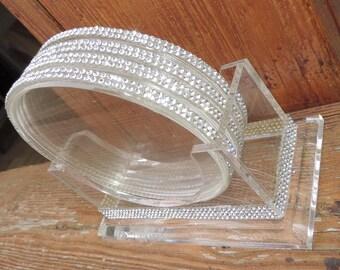 Rhinestone Acrylic Coasters with Coaster Stand Bridal Housewarming Gift