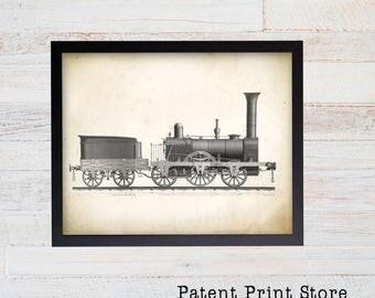 Train Art Print. Steam Train. Railroad Wall Art. Steam Locomotive Print. Train Wall Art. Nursery. Steam Engine. Train Decor. Train Patent