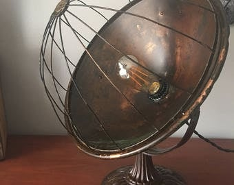 Upcycled copper vintage table lamp/ former space heater