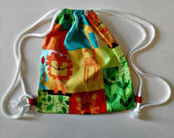 """Backpack's """"Lions"""" daycare for children fun snack in printed cotton bag with cords to carry food bag"""