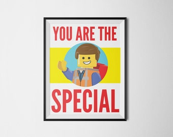 You Are The Special - Lego Movie Art - Lego Print - Movie Art - Lego Art - Lego Poster - Lego Birthday - Digital Print - Instant Download