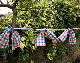 Tied red white and blue cotton gingham garland bunting