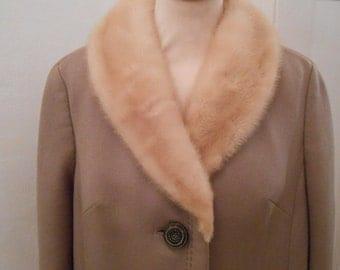 60s vintage warm thick wool coat beige mink collar