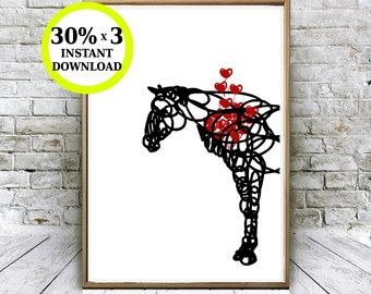 Printable horse. Nature way of love. Printable heart. Animal.lamina to print. Blade with horse. Foil nature. Living room decoration