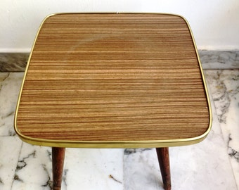French Vintage Side Table, Bedside Table, Side Unit, End Table In Brown  Formica