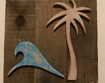 Wave & Palm Tree Sign