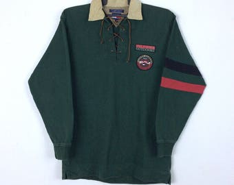 RARE!! Vintage 90s Tommy Hilfiger Outdoor Long Sleeve Polos Shirt Patches Logo Retro Hip hop Swag