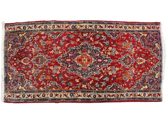 "Hand Knotte Classic Persian Rug , 3'10"" X 2'11"" Vintage Persian Area Rug in Good Condition , Floral Medallion Design 1950s"