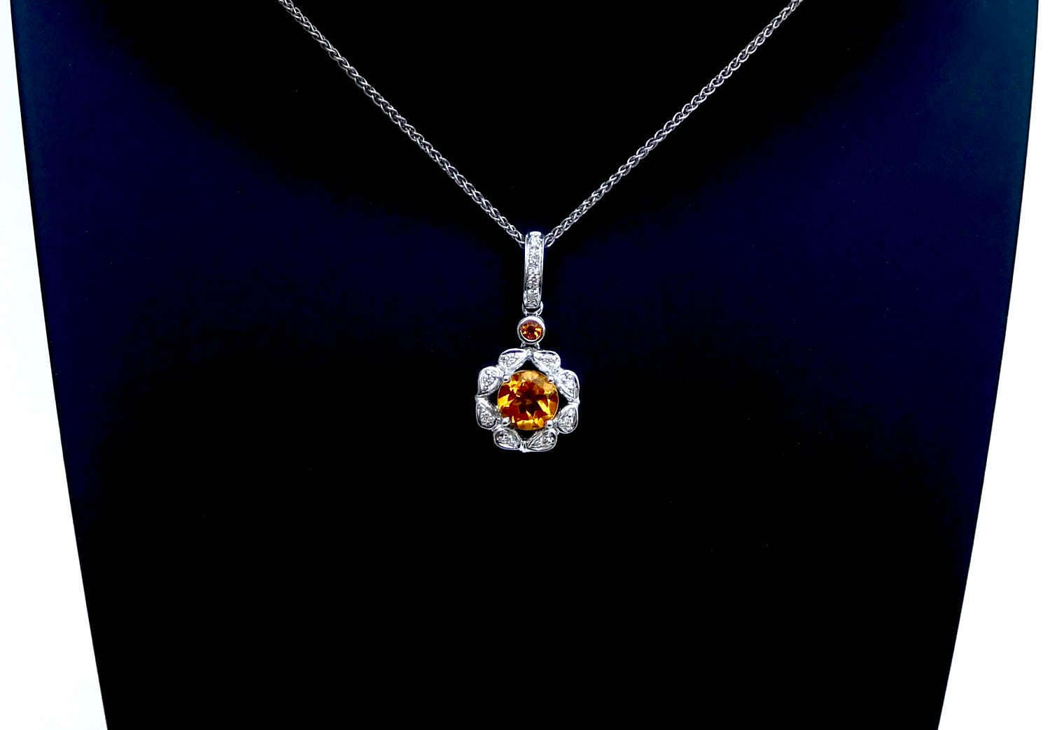 ... pendant, citrine and diamond necklace, wedding gift, filagree citrus