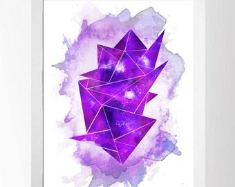 Purple Crystal Watercolour Art Print