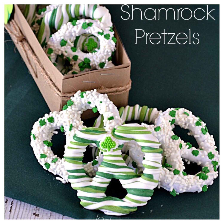 1 Dozen St  Patricks Chocolate Covered Pretzels Green Shamrock St Pattys Day