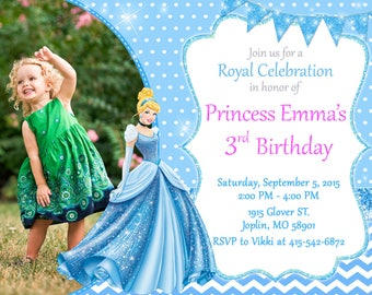 Princess Cinderella Invitation Birthday - Princess Cinderella Party