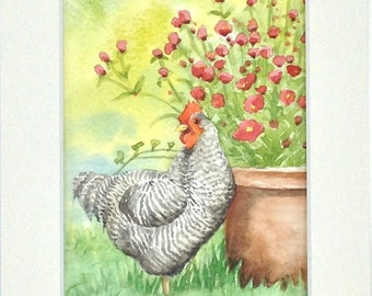 """Table watercolor """"a day in the country"""" the hen"""