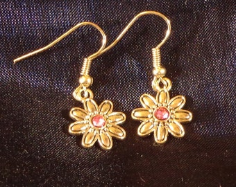Gold Colored Metal Flowers with Pink Crystal Centers Earrings (000061)