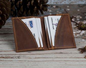 Card Holder, Slim Wallet, Leather Slim Wallet, Mini Wallet, Leather Wallet, Mens Leather Wallet, Mens Wallet, Gift for him, Brown Wallet