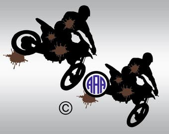 Motocross boy monogram SVG Clipart Cut Files Silhouette Cameo Svg for Cricut and Vinyl File cutting Digital cuts file DXF Png Pdf Eps