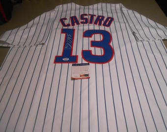 STARLIN CASTRO signed chicago cubs/new york yankees jersey/psa/dna