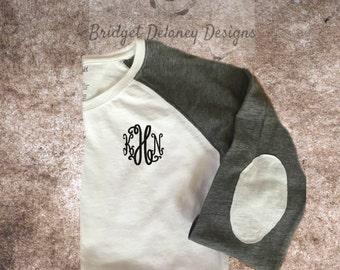 Long sleeved Women's monogrammed shirt, raglan shirt, monogram, personalized