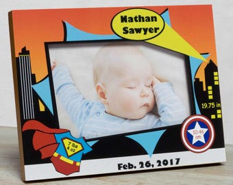 Personalized Baby Picture Frame, Baby Boy Picture Frame, New Baby Boy Frame, Baby Boy Frames, Baby Boy Birth Frames, Superhero Baby Frame