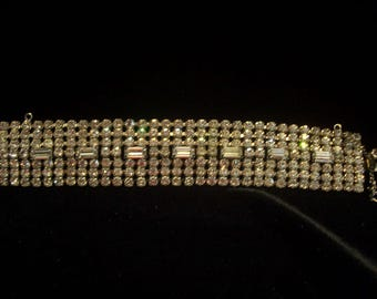 Large Signed Weiss Seven Row Rhinestone Cuff Bracelet